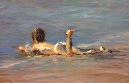 3 Tumbado en la arena - Serie niños en la playa, óleo sobre lienzo, 22x27 d
