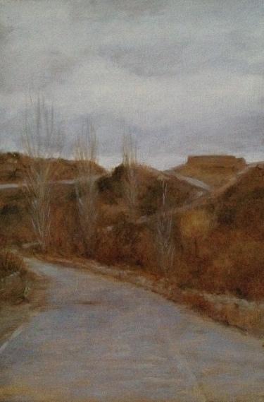 Camino del cementerio - Casas del Puerto, óleo sobre tabla, 16x24