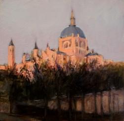Madrid -Atardecer en la Catedral de la Almudena, Óleo sobre tabla - 20x20